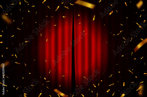 Obraz na plátne Red Curtain With Falling Gold Confetti Background_2