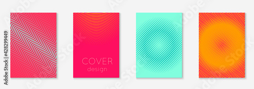 Gradient cover template with line geometric elements and shapes.