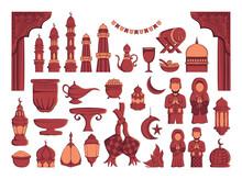 Set Of Ramadan Kareem Illustration