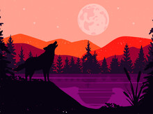 Silhouette Of A Wolf. The Wolf Howls At The Full Moon. Mountain Landscape With Water. Vector. Eps