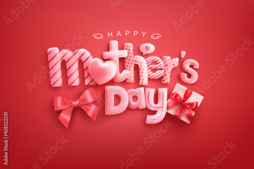 Happy Mother's Day Poster or banner with cute font,sweet hearts and gift box on red background.Promotion and shopping template or background for Love and Mother's day concept - fototapety na wymiar