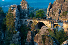 Beautiful Shot Of The Bastei Stone Formations In Saxony, Germany