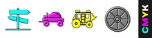 Set Road Traffic Signpost, Wild West Covered Wagon, Western Stagecoach And Old Wooden Wheel Icon. Vector