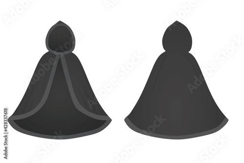 Fényképezés Black  cloak mantle. vector illustration