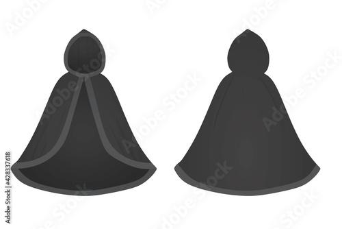 Slika na platnu Black  cloak mantle. vector illustration