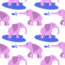 Children's Pink Elephant Pattern . An Animal In A Puddle . Vector Illustration Drawn By Hand . Blank For Paper Textile Design