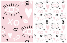 Boho Style Girly Seamless Vector Patterns Set. Hand Drawn Eyes, Lips And Hearts On A White And Pastel Pink Background. Irregular Pink-White Doodle Print.