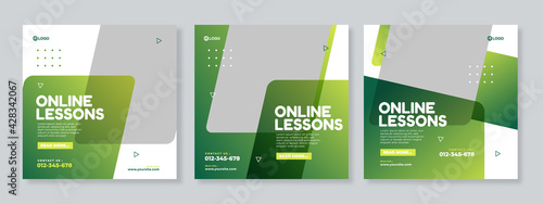 Obraz na płótnie Online lessons courses social media post template design vector