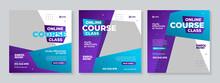 Online Course Class Social Media Post Template Design Vector