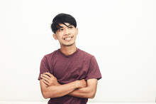 Smiling Handsome Asian Man In Casual T-shirt