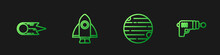 Set Line Planet, Comet Falling Down Fast, Rocket Ship And Ray Gun. Gradient Color Icons. Vector