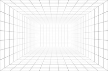 3d Wireframe Room Perspective Grid.