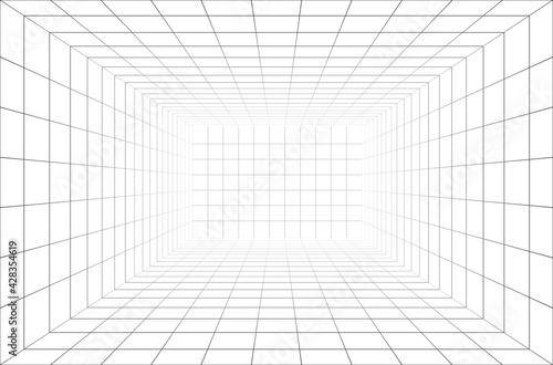 Fotografiet 3d wireframe room perspective grid.
