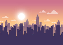 Cityscape In Evening Sky, City Tower Panorama Sunset Seamless Background, Vector Illustration
