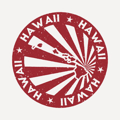 Hawaii stamp. Travel red rubber stamp with the map of island, vector illustration. Can be used as insignia, logotype, label, sticker or badge of the Hawaii.
