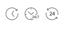 Set Of Time And Clock Line Icons Isolated On White Background. 24-7 Service Icon. Flat Design. Vector Illustration.