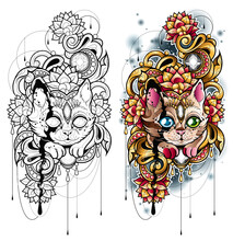 Tatuaż Kot Wśród Kwiatów W Złotej Dekoracji. Czarno Biały Obrys Kolorowanka Tatuaż Kot Płaska Ilustracja Wektorowa.