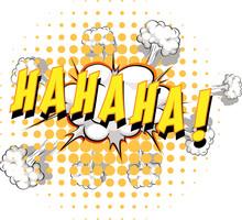 Comic Speech Bubble With Haha Text
