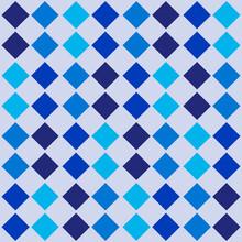 Blue Diamonds Tile. Vector Aqua Ornament.