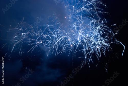 Fotografie, Obraz Blue holiday night fireworks