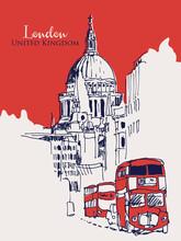Drawing Sketch Illustration Of London, UK