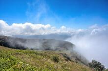 Foggy Morning In Mountains At Kew Mae Pan, Doi Inthanon National Park, Chiang Mai.