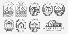 Set Bundle Of Cabin Cottage Line Art Logo Vector Minimalist Illustration Design Lake River Ocean Wave Sunrise Forest Pine Tree