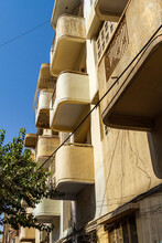 Vertical Shot Of Protruded Balconies Of An Apartment Building