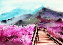 Watercolor Picture Of Blooming Sakura Trees, Wood Bridge And Misty Distant Mountains