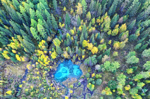 Fotografie, Obraz geyser lake altai aerial view from drone, blue lake landscape