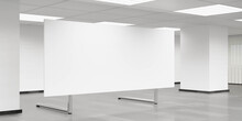Empty Blank White Board Flip Chart In Big Room Office 3d Render Illustration