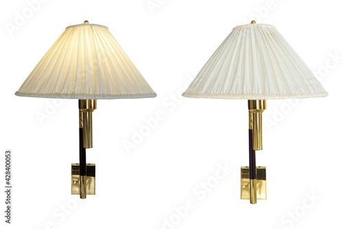 Tela Set of Classically Wall Lamp, lighting equipment turn on and off isolated on white background with clipping path