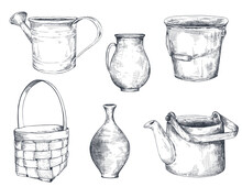 Set Of Black And White Hand Drawn Vector Vases, Basket. Kettle, Watering Can, Pitcher