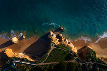 Aerial View Of The Vau Beach (Praia Do Vau) In Portimao, Algarve, Portugal