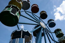 Low Angle Shot Of Ferris Wheel On The Sky Background