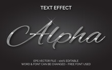 Silver Metal Text Effect. Text Effect Vector Editable Font And Word. Easy To Change.