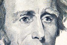 Macro Of A US Twenty-dollar Bill. The Eyes Of Andrew Jackson