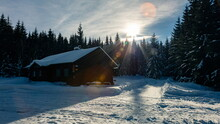 Wooden Hut In A Forest In Winter With Snow During Sunset, Jeseniky