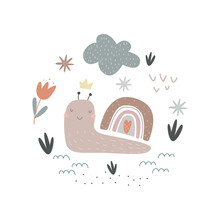 Cute Snail With Rainbow, Clouds And Flowers Isolated On White Background. Vector Illustration For Printing On Fabric, Packaging Paper, Clothing. Cute Baby Background