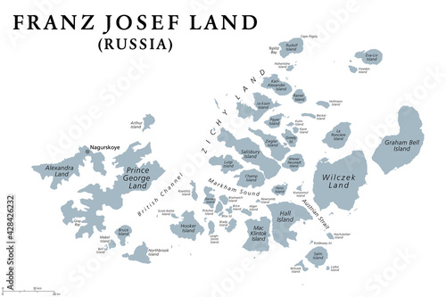 Obraz na plátně Franz Josef Land, gray political map