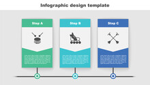 Set Drum With Drum Sticks, Roller Skate And Arrow Sucker Tip. Business Infographic Template. Vector