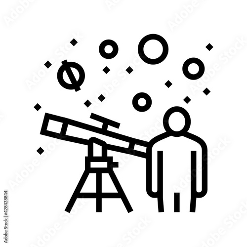 Foto astronomer watching in telescope on stars line icon vector