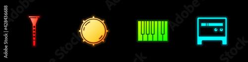Fototapeta Set Clarinet, Dial knob level, Grand piano and Guitar amplifier icon