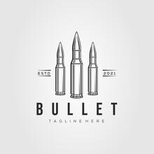 Ammo Line Art Logo Template Vector Illustration Design. Simple Isolated Bullet, Ammunition Line Art Symbol