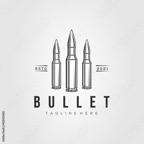 Photographie ammo line art logo template vector illustration design