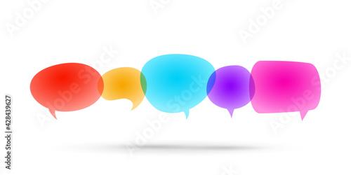 Speech bubble bright color transparent illustration