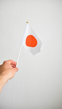 Hand Holding Hand Flag Of Japan