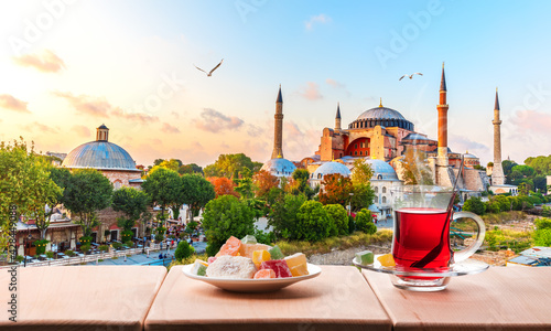Tela Traditional turkish tea in front of the Hagia Sophia Mosque, Istanbul