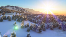Above Winter Forest Mountain Sunset