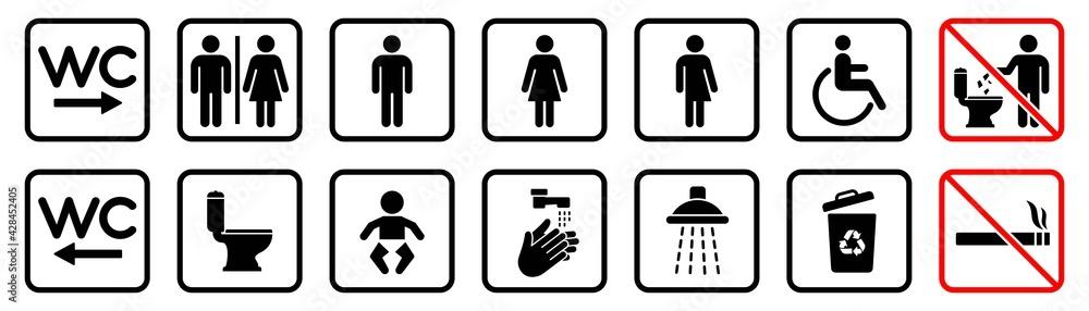 Obraz Toilet icons set, WC signs, toilet signs, bathroom symbol, vector illustration fototapeta, plakat